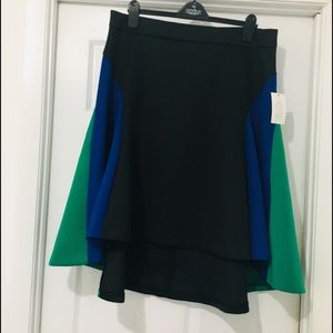 Hi low black, green and blue A line skirt